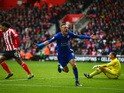 Jamie Vardy of Leicester City celebrates scoring his team's second goal during the Barclays Premier League match between Southampton and Leicester City at St Mary's Stadium on October 17, 2015