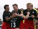 Tim Streather (No 13) of Saracens celebrates with his team-mates after he scores a try for his side during the Aviva Premiership match between Saracens and Sale Sharks at Allianz Park on October 17, 2015