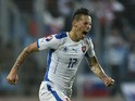 Slovakia's midfielder Marek Hamsik celebrates after scoring during the Euro 2016 qualifying football match between Luxembourg and Slovakia at the Josy Barthel Stadium, on October 12, 2015