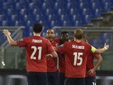 Norway's midfielder Alexander Tettey (C) celebrates with teammates after scoring during the Euro 2016 qualifying football match between Italy and Norway at Rome's Olympic stadium, on October 13, 2015