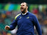 Michael Cheika, Head Coach of Australia gives instructions prior to the 2015 Rugby World Cup Quarter Final match between Australia and Scotland at Twickenham Stadium on October 18, 2015 in London, United Kingdom.