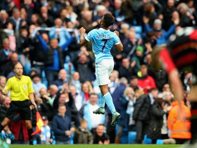 Raheem sterling of manchester city celebrates scoring his team s