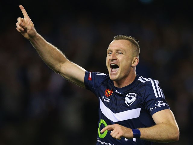 Besart Berisha of the Victory celebrates a goal during the round two A-League match between Melbourne Victory and Melbourne City FC at Etihad Stadium on October 17, 2015