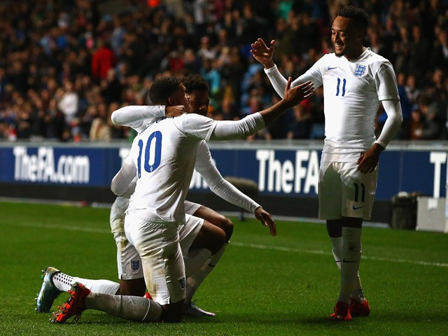Ruben Loftus-Cheek of England is congratulated on his goal during the European Under 21 Qualifier match between England U21 and Kazakhstan U21 at Ricoh Arena on October 13, 2015
