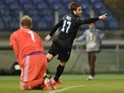 Lazio's forward from Italy Alessandro Matri celebrates after scoring against Rosenborg's goalkeeper from Norway Andre Hansen during the UEFA Europa League football match Lazio vs Rosenborg BK at the Rome's Olympic stadium, on October 22, 2015