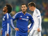 Eden Hazard of Chelsea looks on during the UEFA Champions League Group G match between FC Dynamo Kyiv and Chelsea at the Olympic Stadium on October 20, 2015 in Kiev, Ukraine.