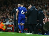 Phil Jagielka of Everton leaves the pitch after picking up injury during the Barclays Premier League match between Arsenal and Everton at Emirates Stadium on October 24, 2015 in London, England.
