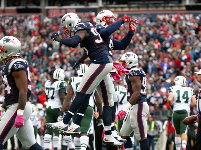 Chandler Jones #95 of the New England Patriots reacts during the second quarter against the New York Jets at Gillette Stadium on October 25, 2015