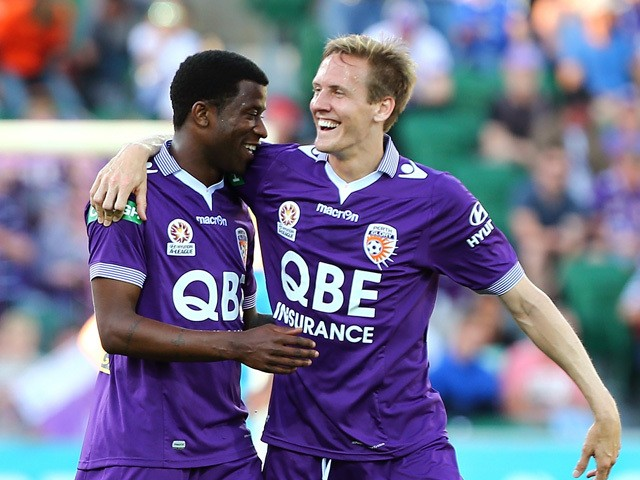 Guyon Fernandez and Michael Thwaite of the Glory celebrate a goal during the round three A-League match between Perth Glory and Adelaide United at nib Stadium on October 25, 2015