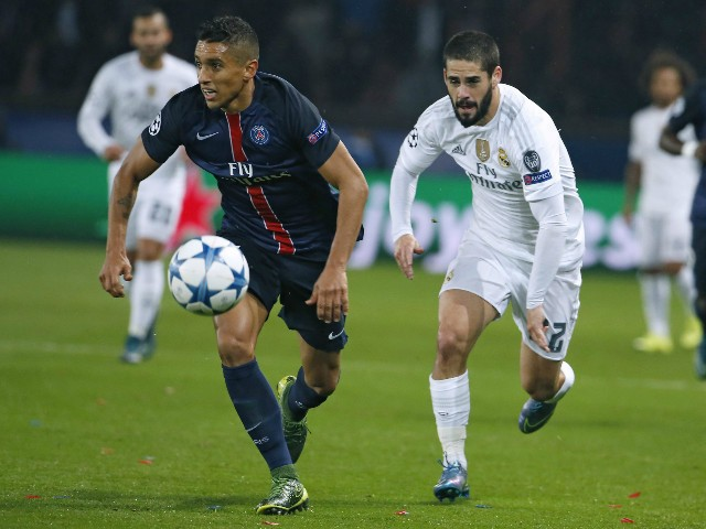 Paris Saint-Germain's Brazilian defender Marquinhos (L) vies with Real Madrid's Spanish midfielder Isco during the UEFA Champions League football match Paris Saint-Germain (PSG) vs Real Madrid, on October 21, 2015 at the Parc des Princes stadium in Paris.
