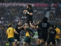 New Zealand's lock Sam Whitelock (C) catches the ball in a line out during the final match of the 2015 Rugby World Cup between New Zealand and Australia at Twickenham stadium, south west London, on October 31, 2015