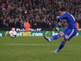 Eden Hazard takes Chelsea's final penalty during the League Cup game with Stoke City on October 27, 2015