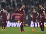 Fabio Quagliarella (R) and Andrea Belotti of Torino FC show their dejection during the Serie A match between Juventus FC and Torino FC at Juventus Arena on October 31, 2015 in Turin, Italy.