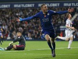 Jamie Vardy of Leicester City celebrates scoring his team's third goal during the Barclays Premier League match between West Bromwich Albion and Leicester City at The Hawthor