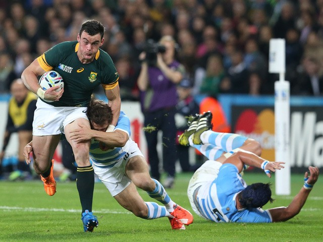 Jesse Kriel of South Africa attempts to break through during the 2015 Rugby World Cup Bronze Final match between South Africa and Argentina at the Olympic Stadium on October 30, 2015