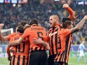 Shakhtar Donetsk's players celebrate after scoring a goal during the UEFA Champions League football match Shakhtar Donetsk vs Malmo on November 3, 2015