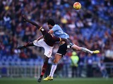 Roma's defender from Germany Antonio Rudiger (R) vies with Lazio's midfielder from Italy Marco Parolo during the Italian Serie A football match AS Roma vs SS Lazio at the Olympic Stadium in Rome on November 8, 2015.