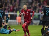 Bayern Munich's Dutch midfielder Arjen Robben celebrates scoring during the UEFA Champions League Group F second-leg football match between FC Bayern Munich and Arsenal FC in Munich, southern Germany, on November 4, 2015