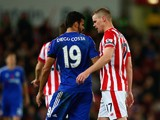 Diego Costa of Chelsea and Ryan Shawcross of Stoke City argue during the Barclays Premier League match between Stoke City and Chelsea at Britannia Stadium on November 7, 2015 in Stoke on Trent, England.