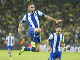 Porto's Mexican defender Miguel Layun reacts after scoring during the UEFA Champions League, group G, football match between Maccabi Tel Aviv and FC Porto at the Sammy Ofer Stadium, in the Israeli coastal city of Haifa, on November 4, 2015