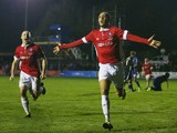 Richie Allen of Salford City celebrates as he scores their second goal during the Emirates FA Cup first round match between Salford City and Notts County at Moor Lane on November 6, 2015 in Salford, England.