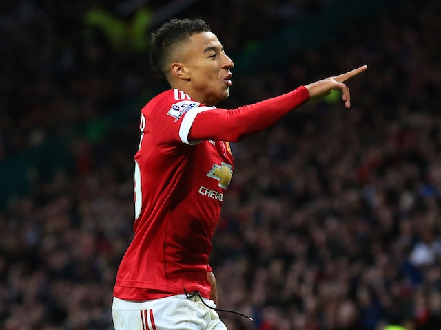 Jesse Lingard of Manchester United celebrates scoring his team's first goal during the Barclays Premier League match between Manchester United and West Bromwich Albion at Old Trafford on November 7, 2015 in Manchester, England.