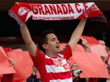 A Granada CF fan cheers his team prior to start the La Liga match between Granada CF and FC Barcelona at Nuevo Estadio de los Carmenes on February 28, 2015 in Granada, Spain.