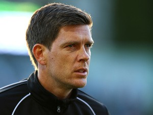 Bristol manager Darrell Clarke looks on during the first leg of the Vanarama Football Conference playoff semi-final between Forest Green Rovers and Bristol Rovers at The New Lawn Stadium on April 29, 2015
