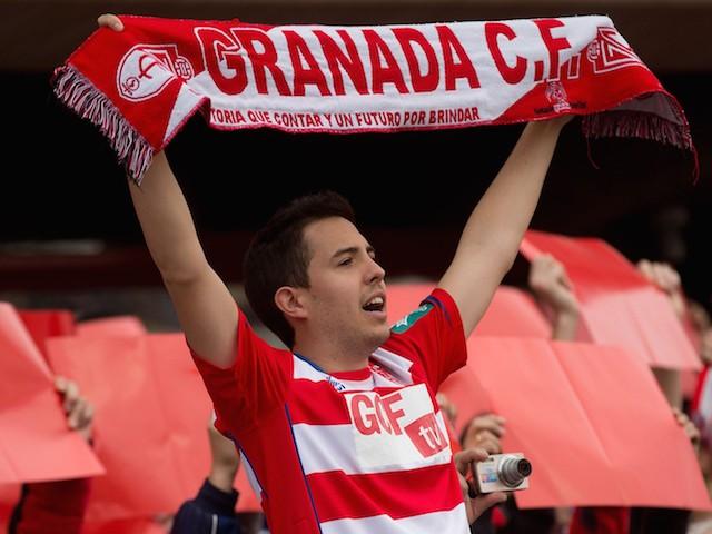A Granada CF fan cheers his team prior to start the La Liga match between Granada CF and FC Barcelona at Nuevo Estadio de los Carmenes on February 28, 2015 in Granada, Spain.