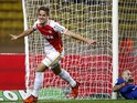 Monaco's Croatian midfielder Mario Pasalic celebrates after scoring a goal during the French L1 football match Monaco between and Nantes on november 21, 2015 at the'Louis II Stadium in Monaco.