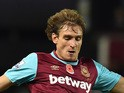 West Ham United's Croatian striker Nikica Jelavic during the English Premier League football match between West Ham United and Everton at The Boleyn Ground in Upton Park, east London on November 7, 2015
