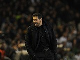 Atletico Madrid's Argentinian coach Diego Simeone shouts during the Spanish league football match Real Betis Balompie vs Club Atletico de Madrid at the Benito Villamarin stadium in Sevilla on November 22, 2015