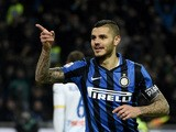 Inter Milan's forward from Argentina Mauro Icardi celebrates after scoring during the Italian Serie A football match Inter Milan vs Frosinone on November 22, 2015