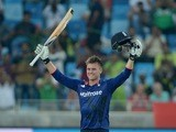 England batsman Jason Roy celebrates his century in the fourth one-day international against Pakistan in Dubai on November 20, 2015