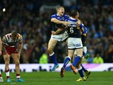 Jimmy Keinhorst of the Leeds Rhinos celebrates at the final whistle with team mate and man of the match Danny McGuire during the First Utility Super League Grand Final between Wigan Warriors and Leeds Rhinos at Old Trafford on October 10, 2015