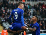 Jamie Vardy of Leicester City celebrates scoring his team's first goal with his team mates during the Barclays Premier League match between Newcastle United and Leicester City at St James' Park on November 21, 2015
