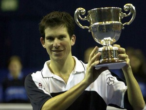 26 Nov 2000: Tim Henman of England with the trophy after his straight sets win over Dominik Hrbaty of Slovakia in the final of the Samsung Open at the Brighton Centre, Brighton.