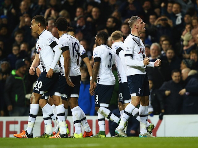 Toby Alderweireld of Tottenham Hotspur celebrates scoring his teams second goal during the Barclays Premier League match between Tottenham Hotspur and West Ham United at White Hart Lane on November 22, 2015 in London, England.