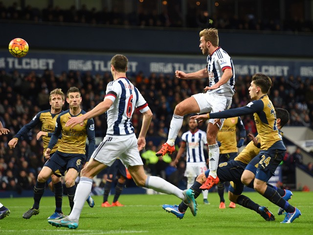 James Morrison of West Bromwich Albion scores his team's first goal during the Barclays Premier League match between West Bromwich Albion and Arsenal at The Hawthorns on November 21, 2015