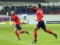 Ajaccio's Tunisian midfielder Mohamed Larbi celebrates after scoring a goal during the French L1 football match Gazelec Ajaccio (GFCA) against Lorient (FCL) on November 28, 2015, at the Ange Casanova stadium in Ajaccio, on the French Mediterranean island