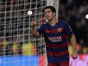 Barcelona's Uruguayan forward Luis Suarez celebrates after scoring during the UEFA Champions League Group E football match FC Barcelona vs AS Roma at the Camp Nou stadium in Barcelona on November 24, 2015