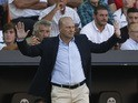 Betis' coach Pepe Mel gestures during the Spanish league football match Valencia CF vs Real Betis Balompie at the Mestalla stadium in Valencia on September 19, 2015