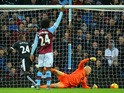 Odion Ighalo (2nd L) of Watford scores his team's first goal past Brad Guzan of Aston Villa during the Barclays Premier League match between Aston Villa and Watford at Villa Park on November 28, 2015
