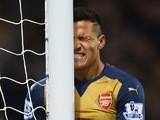 Arsenal's Alexis Sanchez grimaces during the Premier League defeat to West Bromwich Albion on November 21, 2015