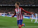 Antoine Greizmann of Club Atletico de Madrid celebrates after scoring his team's opening goal during the La Liga match between Club Atletico de Madrid and Real CD Espanyol at Vicente Calderon Stadium on November 28, 2015 in Madrid, Spain.