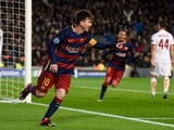 Lionel Messi of Barcelona celebrates scoring his teams second goal during the UEFA Champions League Group E match between FC Barcelona and AS Roma at Camp Nou on November 24, 2015