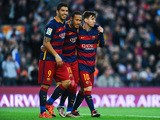 Neymar (C) of FC Barcelona celebrates with his teammates Luis Suarez (L) and Lionel Messi of FC Barcelonaa after scoring his team's third goal of FC Barcelonaduring the La Liga