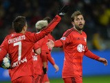 Bayer Leverkusen's players celebrate a goal during the UEFA Champions League group E football match between FC BATE Borisov and Bayer 04 Leverkusen at the Borisov Arena stadium in Borisov, outside Minsk, on November 24, 2015
