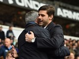 Jose Mourinho and Mauricio Pochettino embrace prior to the game between Spurs and Chelsea on November 29, 2015
