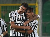Juventus' forward from Croatia Mario Mandzukic celebrates his goal with Juventus' forward from Argentina Paulo Dybala (R) during the Italian Serie A football match between Palermo and Juventus on November 29, 2015